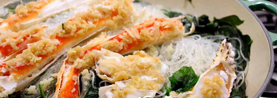 How to Make – King Crab Steamed with Minced Garlic over Sticky Vermicelli & Spinach