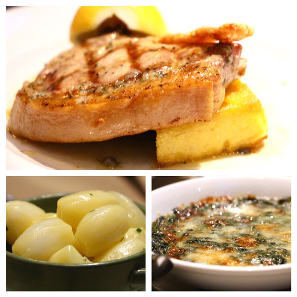The Continental Hong Kong pork chop new potatoes spinach