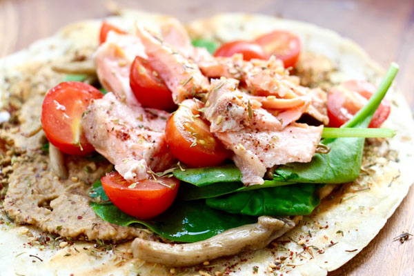 salmon flat bread hummus recipe