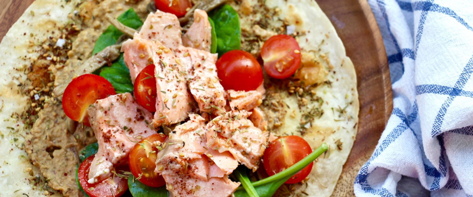 salmon flat bread