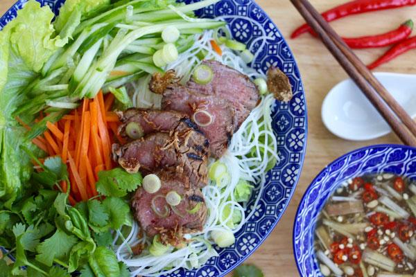 Bun Bo Sao Vietnamese lemongrass beef cold noodle salad recipe